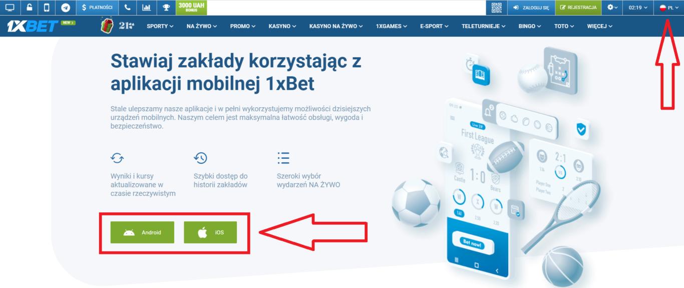 Rejestracja w aplikacji 1xBet mobi